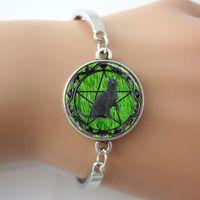pulseras de hierba al por mayor-Pulsera de gato negro, brazalete de pentagrama de Wicca, brazalete de brazalete de joyería de azulejo de vidrio de fondo de hierba verde para los mejores amigos
