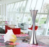 Wholesale Metal Vases For Flowers - European Single Round Port Flower Vases Fashion Stainless Steel Slender Waist Vase Home Decor Ornaments Accessories For Dining Living Room