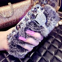 Wholesale Bling Iphone Big - 3D new Big Diamond Rabbit Fur Hard Cover Case For Apple Iphone 7 6 6 plus Top Quality Luxury Bling Rhinestone Case