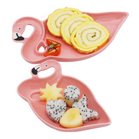 1 PCS Flamingo Décoration Rose 3D En Céramique Plaque Collations Assiettes de Fruits Séchés Fruit Bol Dessert Plats Porcelaine Vaisselle