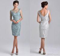 Wholesale Elegent Green Dress - Elegent Mother off bride dresses 2016 Illusion Neck Half Sleeves Lace Crystal Beads Silver Sheer Short Knee Length For Wedding Mothers Dress