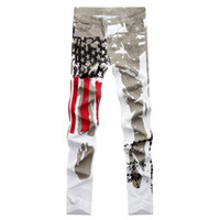 Wholesale Mens Coats Xl Usa - Men Casual American USA Flag Printed Jeans Pants Mens Graffiti Print Stretch Jean Slim Fit Trousers B1228-1