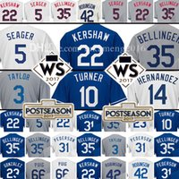 Wholesale Brown Black White - 22 Clayton Kershaw 35 Cody Bellinger 5 Corey Seager Jersey 10 Justin Turner 3 Chris Taylor 14 Enrique Hernandez 23 Adrian Gonzalez Jerseys