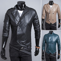 Wholesale Double Breasted Pu Leather Jacket - Drop shipping 2015 New Spring Autumn Men's stand collar Jackets Slim motorcycle jackets Double breasted Soft pu leather coat M-XXL