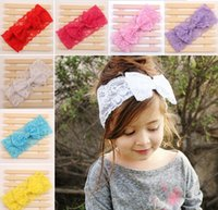 Wholesale Big Bow Head Band - Newly Design New Fashion Girls Lace Big Bow Hair Band Baby Children Head Wrap Headwear Band Accessories JIA331