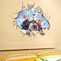 Wholesale Kindergarten Wall Decals - 2015 3D Frozen Wall Stickers Frozen Wall Sticker Removable And Waterproof Background Wall Stickers For Kindergarten Kids Room Free Shipping