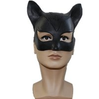 Wholesale Catwoman Accessories - Movie Batman Adorable Catwoman Latex Party Mask Halloween Lady Popular Cosplay Costume Latex Masks Free delivery