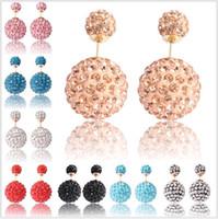 Wholesale Ball Earring Candy - Shambhala Double Side ball Stud Earrings Shining Rhinestone small crystal Earrings Candy colour High Grade ears nail gift For Women girls
