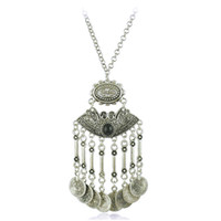 Wholesale Long Tribal Jewelry Necklace - Bohemian Jewelry Coin Sweater Long Chain Necklace Gypsy Tribal EthnicTurkish Women Boho Antique Silver Carved Jewelry Wholesale