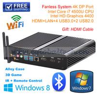 Wholesale Mini Fanless Desktop Pc - Wholesale-DHL Shipping 8GB RAM+128GB SSD Fanless Mini PC Core i7 HTPC  Mini PC  Desktop Computer CPU 4500U IN STOCK Intel Core i7-4500U
