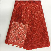 Wholesale Wholesale Embroidered Organza Fabric - Special Coral African Double Net Organza Lace Fabric with Sequence Stones Embroidered French Lace High Quality 2018