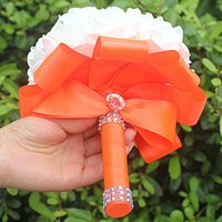 Wholesale Cheapest Fake Flowers - IN STOCK Cheapest PE Rose Bridesmaid Wedding Foam flowers Rose Bridal bouquet Ribbon Fake Wedding bouquet de noiva 14 Color
