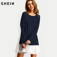 SHEIN Navy Contrast Flounce Hem Dress Drop Mezzo manica lunga Ruffle T-Shirt Dress Color Block Vestito dritto casual q1113