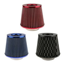 "Wholesale flow intake - Universal 3"" 76mm Auto Car Intake Air Filter High Flow High Cold Air Cone Black Blue Red"