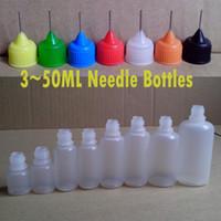 Wholesale Wholesale Metal Droppers - Empty Needle bottle e liquid bottle 3ml 5ml 10ml 15ml 20ml 30ml 50ml Plastic Dropper Bottles Long Metal Needle Bottle e cig DHL