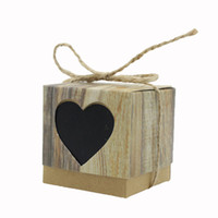 Wholesale Twine Wholesalers - Wholesale- Imitation Bark Candy Box Black Love Heart Rustic Kraft with Rope Jute Shabby Chic Vintage Twine Wedding Favor Gift Boxes 24 Sets
