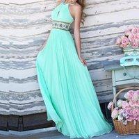 Wholesale Halterneck Prom Dress - Fashion Party Chiffon Dress 2015 Sexy Women Backless Off Shoulder Halterneck Elegant Pleated Maxi Long Prom Gown Dress Vestidos FG1511