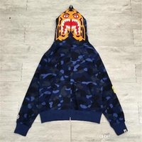 2017 New Blue A BATHING A APE Bapes da uomo COLOUR CAMO TIGER FULL ZIP FELPA Shark Jaw Full Zipper Felpa con cappuccio Camouflage Coat Jacket
