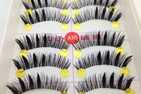 Wholesale Natural Curl False Eyelashes Pair - new10 Pairs long Natural curl False Eyelashes Hand Made MakeUp Cosmetic extension lashes to hot sale