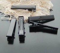 Wholesale Single Prong Metal Hair Clips - 50pcs lot DIY Black color Metal Single Prong Alligator Aligator Clips Baby Hair Bows Hair Tool