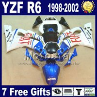 Wholesale Yamaha R6 Motorcycle - ABS full fairing kit for YAMAHA YZF600 YZF R6 1998 1999 2000 2001 2002 YZF-R6 98-02 white blue black motorcycle fairings VB12 +7 gifts