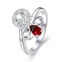 New arrival Gorgeous European 925 Sterling Silver Jewelry Natural Ruby Rings com Áustria Crystal Stones Flower Design Anéis para Mulheres