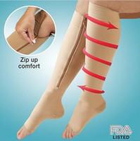 Wholesale Leggings Zip - 2015 women Compression zip up sox socks Hosiery leggings pressure socks thin leg warmers shaper socks slim stockings tights 200pairs