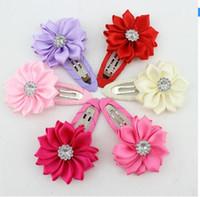 Wholesale mini flower clips - 60pcs girl hairclip rhinestone mini satin flower hair clip children hairpins DIY baby girl hair accessories