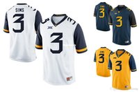 Maglia da West Virginia Mountaineers Jersey da uomo Charles Sims 3 Gold Blue White