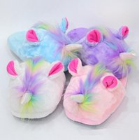 Wholesale cute anime slippers - Cute Unicorn Plush Slippers Shoes Cartoon Anime Lovely Winter Warm Indoor Home Slippers Children Shoes Colors OOA3342