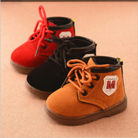 Wholesale Cheap Baby Girl Waterproofs - Wholesale cheap 2017 fashion casual winter warm ankle short baby toddler boots shoes for boys girls lace up round toe waterproof 15-19