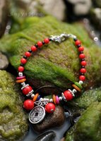 Wholesale Tibetan Natural Coral Beads - Hot Selling New Fashion Jewelry Lucky natural coral bead bracelet coral Tibetan silver buckle bracelet Jewelry #PH4722