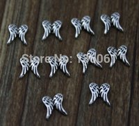 Wholesale Designs Floating Charms - Vintage Silver Wings Floating Locket Charms For Glass Living Memory Floating Locket Design Assorted Charms DIY Alloy Accessories 200Pcs Q546