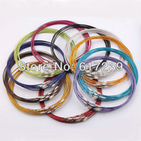 Wholesale steel wire cord necklace - Wholesale-100PCS LOT 18 Inch Mixed Color Magnetic Screw Stainless Wire Cable 1MM Steel Chain Cord Necklace Screw Clasp,Jewelry Findings