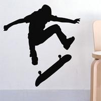 Wholesale Skateboard Room Decor Wall Stickers - Wholesale-Free Shipping Wall stickers Home decor SIze:560mm*600mm PVC Vinyl paster Removable Art Mural Skateboard H-144
