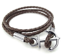 Wholesale Womens Brown Leather Bracelets - Mens Womens Leather Bracelet Braided Anchor Wrap Bangle Brown Black White Drop Shipping Drop Shipping