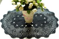 Wholesale Table Runner Crochet Wholesale - Wholesale- Gothic Table Runner Black Crochet Lace Tablecloth Placemats oval 16*24 inches (40*60cm)