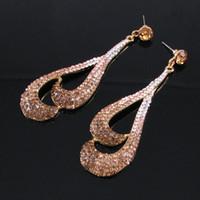 Wholesale Earings Color Diamond - pink*purple*coffee color crysstal lady's earings (7.6*2.4cm) (xyaya)