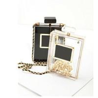 Wholesale Shaped Clutch - Women's Clutches Perfume Bottle Shape Bag Clear Box Evening Bags Perspex Women's Shoulder Bags