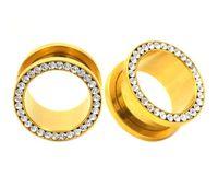 Wholesale plug screw - Wholesale 80pcs CZ Gem Rhinestones Rim Steel Anodized Gold Ear Flesh Tunnels Double Flare Screw Gauge Plugs SRP003