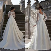 Wholesale Satin Bridal Sleeves - Applique Train V Neck 2016 Vintage Satin Hippie Boho Beach Country Cheap Full Long Sleeve Lace Wedding Dresses China A Line Bridal Gown