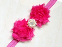 Wholesale Red Flower Hair Shabby - Hottest Infant Head Band Shabby Old Chiffon Pearl Rhinestone Head Accessories Elegant Hair Ornament Flower 14 Colors CF312
