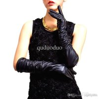 Wholesale Womens Leather Opera Gloves - Long Over The Elbow Soft Pu Leather Mittens Womens Fashion Winter Warm Show Gloves Black Drop Shipping Gloves-0003-BK-40
