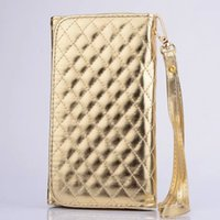 Wholesale Diamond Sheep Leather Case - Universal Sheep Diamond Leather Pouch Case For iPhone 6 Plus 5.5 Samsung Galaxy S7 S6 Edge Plus S3 S4 S5 Note 5 2 3 4 Bag Cover Strap Chain