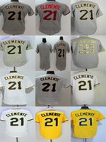 Factory Outlet Mens Womens Kids Toddlers Pittsburgh 21 Roberto Clemente Grigio Bianco Giallo Migliore Qualità Cheap Stitched Logos Maglie da baseball