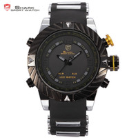 Wholesale Shark Sport Watch Digital - Wholesale-Brand Shark Bezel Swirl Design Men Wristwatch Sport Relogio Digital Waterproof Wrap Silicone Strap Fashion Casual Watch  SH168