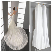 Wholesale Garment Bag For Travelling - 2016 Wedding Dress Bags White Dust Bag Travel Storage Dust Covers Bridal Accessories For Bride Garment Cover Travel Storage Dust Covers
