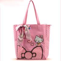 Wholesale Canvas Bag Wholesalers - With Soft Ribbon Cartoon Hello Kitty Canvas Bowknot Women Bag Lady Cartoon Shoulder Handbag 4 Colors