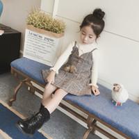 Wholesale Children S Clothing Dresses - Can Custom Girls dresses autumn and winter 2017 new children's clothing children plaid princess dress vest skirt girl autumn dress