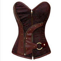 Wholesale Women S Brocade Tops - bustiers & corsets corselet Women 2014 Brown Brocade Steampunk Corset Top With G-string LC5313 plus size XXL sexy lingerie set
